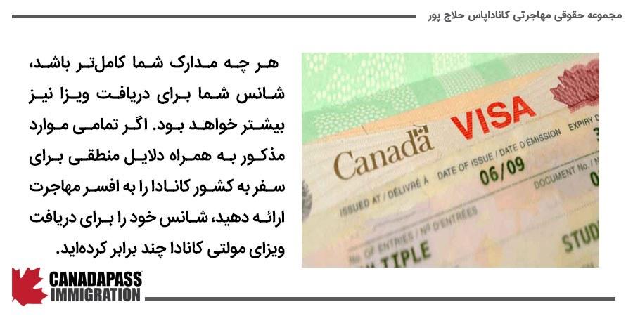مدارک مورد نیاز برای اخذ ویزای مولتی کانادا