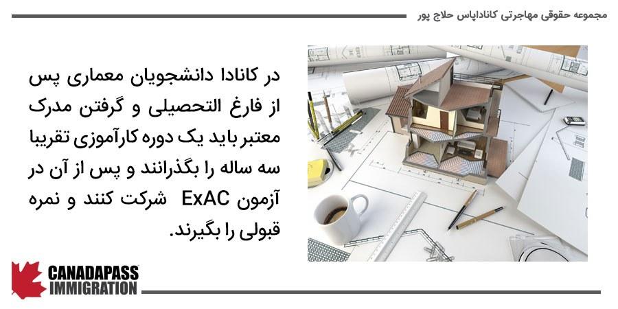 ازمون EXAC برای دانشجویان رشته معماری در کانادا